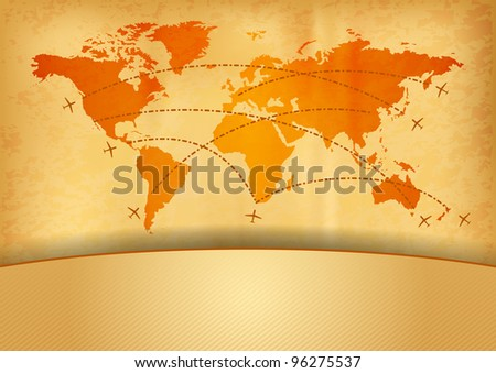 map of the world with plane - stock vector