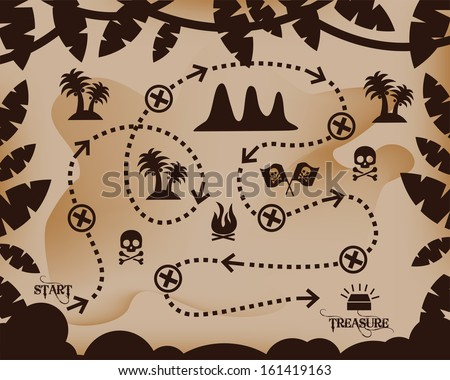 Map of Treasure(treasure map, antique map, old map, old pirate map, illustration of the old maps to find treasure, faded old map - stock vector