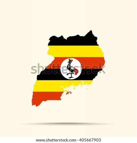 Map of Uganda in Uganda flag colors - stock vector