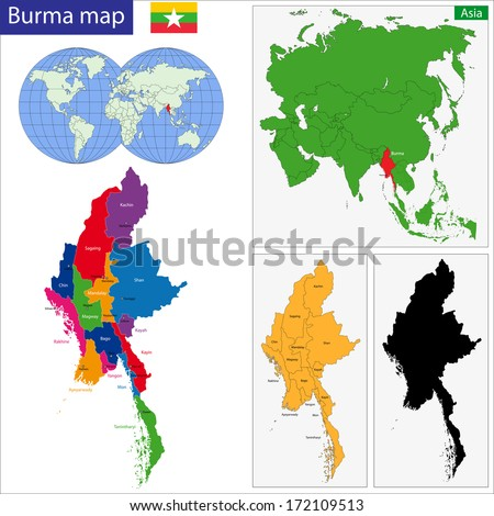 Map of Union of Myanmar (Burma) with the provinces colored in bright colors - stock vector