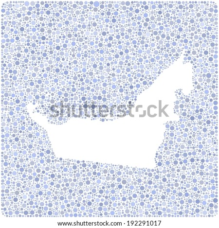 Map of United Arab Emirates into a square icon. Mosaic of colored circles - stock vector
