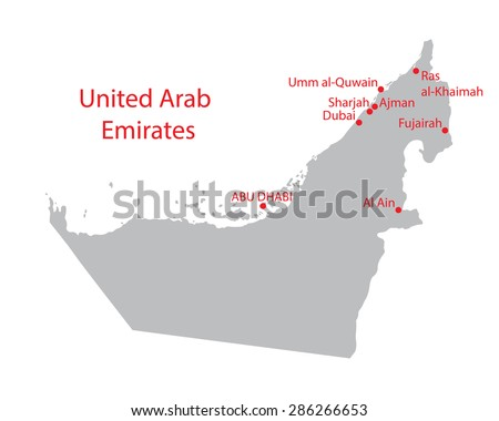 map of United Arab Emirates with indication of largest cities - stock vector