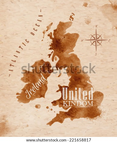 Map of United kingdom and Scotland in old style in vector format, brown graphics in a retro style - stock vector