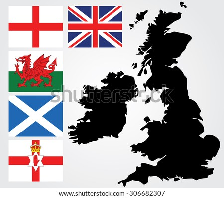 Map of United Kingdom, England flag,wales flag,scotland flag,Northern Ireland flag,British Flag - stock vector