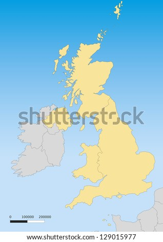 Map of United Kingdom with islands. Scale 1:4500000 - stock vector