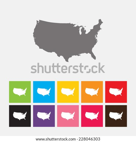 Map of United States icon - Vector - stock vector