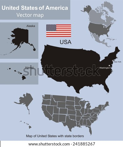 Map of United States with state borders including Alaska and Hawaii  - stock vector