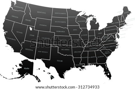 Map of USA in black color. Vector illustration. - stock vector