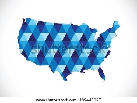 Map of USA in idea design - stock vector