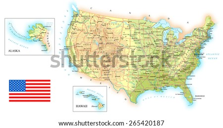 Map of USA - topographic - stock vector