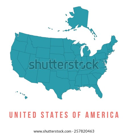 Map of USA with separable borders, isolated in white background - stock vector