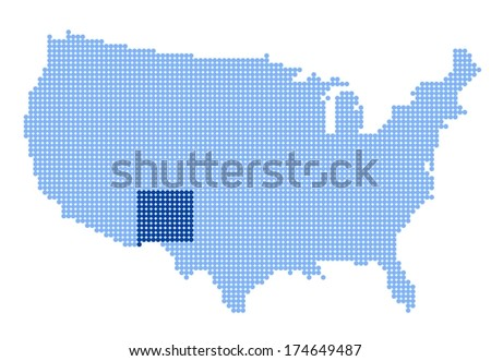 Map of USA with stylized map of New Mexico made from blue dots (vector) - stock vector