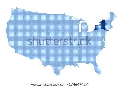 Map of USA with stylized map of New York made from blue dots (vector) - stock vector