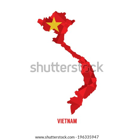 Map of Vietnam Vector Illustration  - stock vector