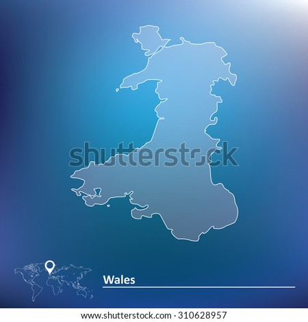 Map of Wales - vector illustration - stock vector