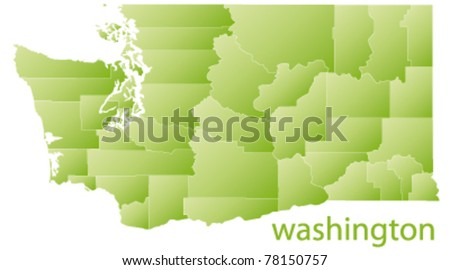 map of washington state, usa - stock vector