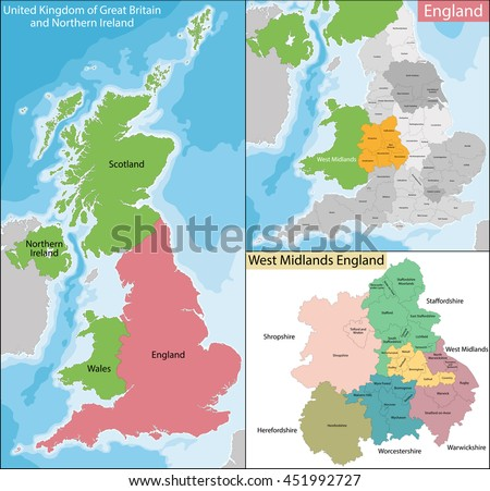 Map of West Midlands England - stock vector