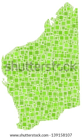 Map of Western Australia in a mosaic of green squares - stock vector