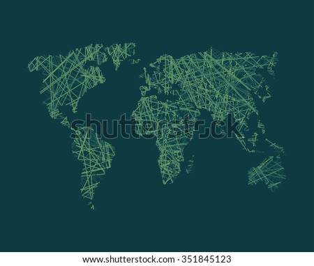 Map of World Wide Web. Continents of planet Earth. Business concept illustration link in world.  World Wide Web around globe.