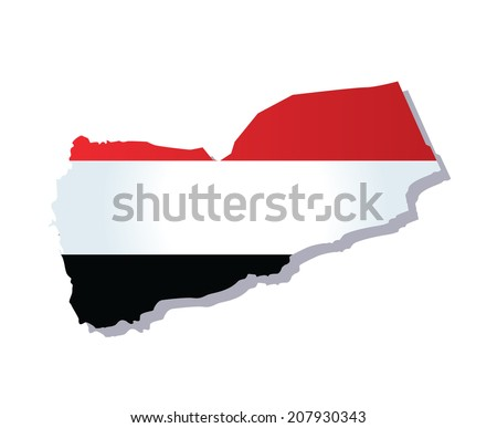 map of yemen with the image of the national flag - stock vector