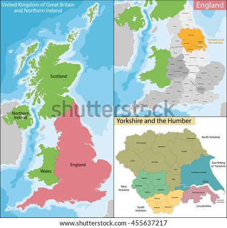Map of Yorkshire and the Humber - stock vector