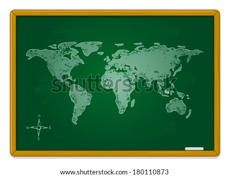 Map on the Blackboard  - stock vector