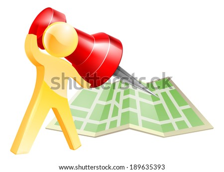 Map pin gold person concept of a gold mascot figure about to mark a location on a map with a giant pin - stock vector
