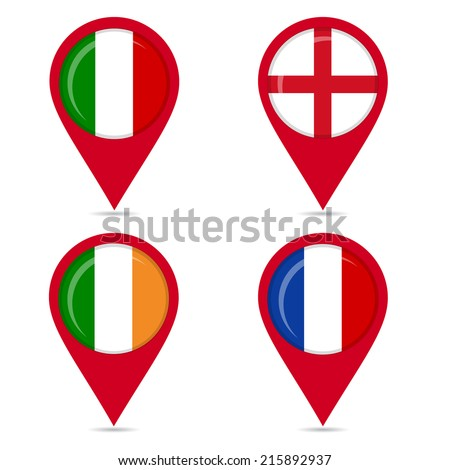 Map pin icons of national flags of european countries. Map pin icons of national flags: Italy, England, France, Ireland. White background. - stock vector