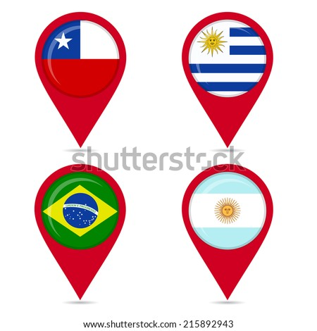 Map pin icons of national flags of South American countries. Map pin icons of national flags: Uruguay, Chile, Brazil, Argentine. White background. - stock vector
