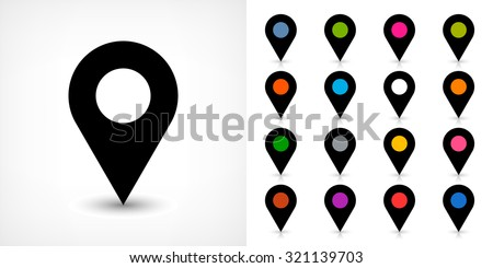 Map pin sign location icon with drop shadow in flat simple style. Black, blue, cobalt, yellow, green, red, magenta, orange, pink, violet, purple, gray, brown shapes on white background. Vector 8 EPS - stock vector