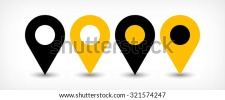 Map pin sign location icon with gray shadow in flat simple style. Four variants in two color black and yellow rounded shapes isolated on white background. Vector illustration web design element 8 EPS - stock vector