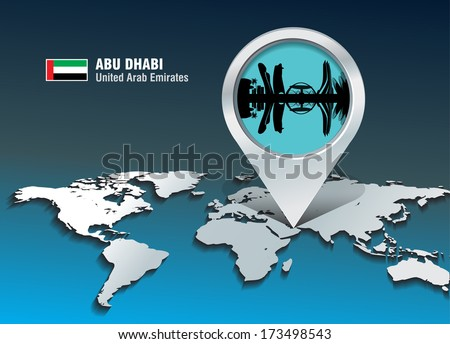 Map pin with Abu Dhabi skyline - vector illustration - stock vector