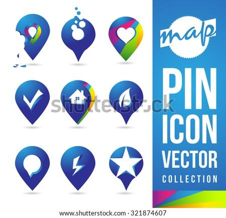 Map Pins Icon Pictogram logos / Location Pins Cartography Map Pin - stock vector