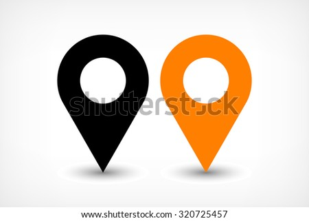 Map pins sign location icon with ellipse gray gradient shadow in flat simple style. Black and orange color rounded shapes isolated on white background. Vector illustration web design element 8 EPS - stock vector