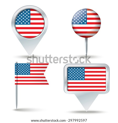 Map pins with flag of United States of America - vector illustration - stock vector