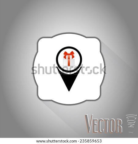 Map pointer - Christmas Gift box with ribbon and bow.  Made in vector illustration - stock vector