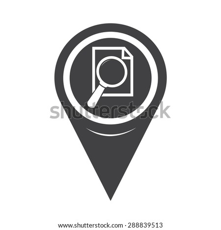 Map Pointer Document And Magnifying Glass Icon - stock vector