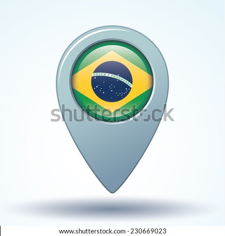 Map pointer Flag of Brazil, vector illustration. - stock vector