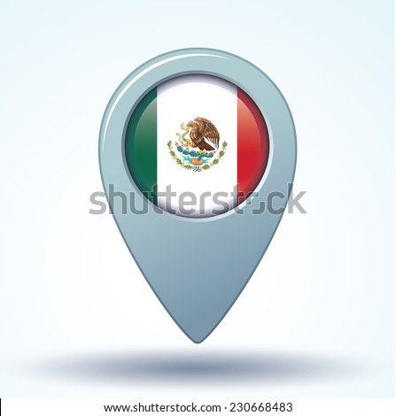 Map pointer Flag of Mexico, vector illustration. - stock vector