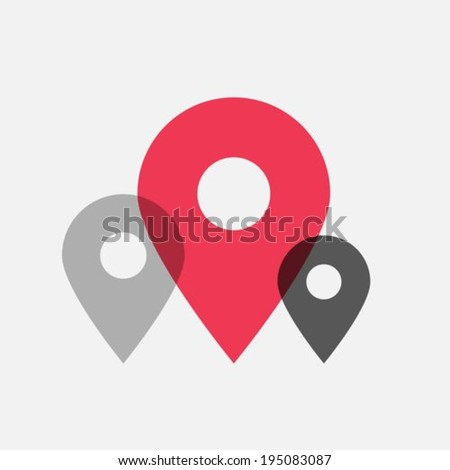 Map pointer flat icons - stock vector