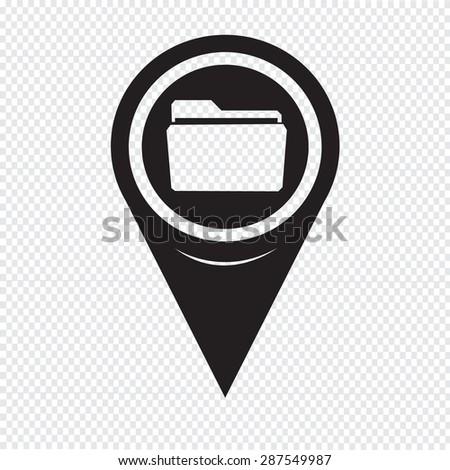 Map Pointer Folder Icon - stock vector