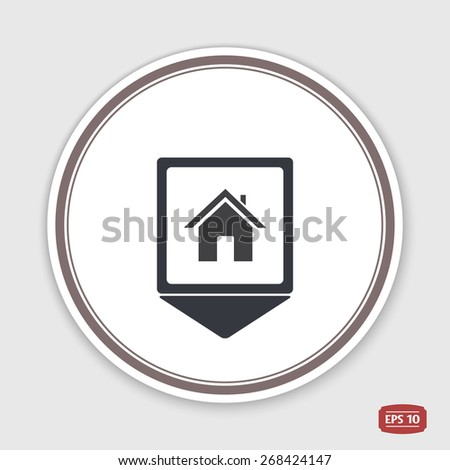 Map pointer. Home icon. Flat design style. Made vector illustration. Emblem or label with shadow. - stock vector