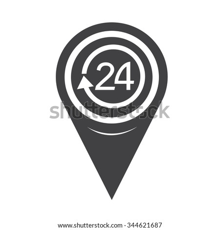 Map Pointer 24 hours icon - stock vector