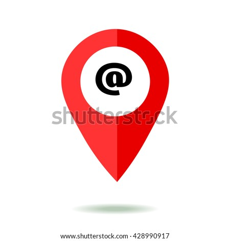 Map pointer icon set with mail symbol. GPS location sign. Flat design style. Isolated On White - stock vector