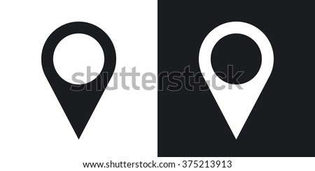 Map pointer icon, stock vector. Two-tone version on black and white background - stock vector