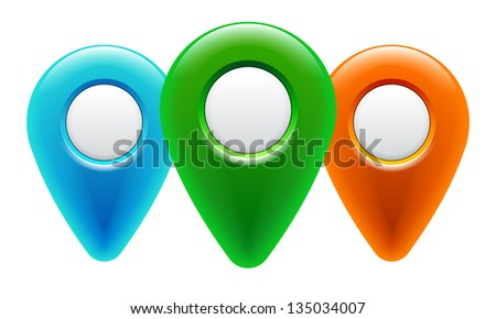 Map pointer icons. Map pin buttons. Eps 10. - stock vector