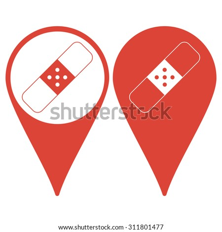 Map pointer. Plaster icon. Flat design styled. Flat design style eps 10 - stock vector
