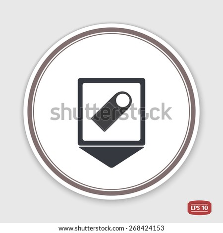 Map pointer. Price tag discounts. Label sale. Flat design style. Made in vector. Emblem or label with shadow. - stock vector