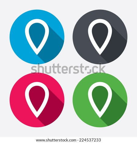 Map pointer sign icon. Location marker symbol. Circle buttons with long shadow. 4 icons set. Vector - stock vector