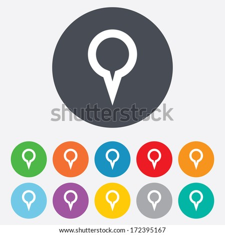 Map pointer sign icon. Location marker symbol. Round colourful 11 buttons. Vector - stock vector